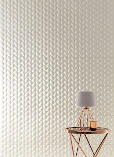 Különleges csempe felület - nappali ötlet, modern stílusban