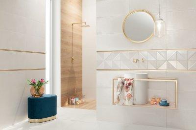 Fehér arany csempe - fürdő / WC ötlet, modern stílusban