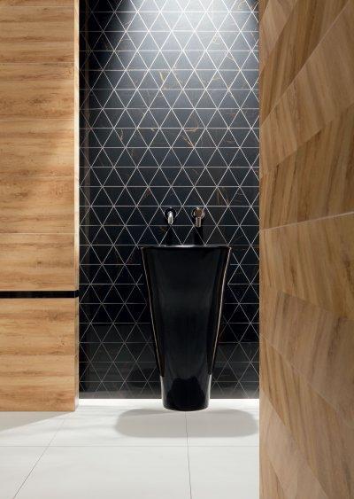 Kőhatású és fekete csempe - fürdő / WC ötlet, modern stílusban