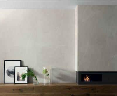 Kő- és fahatású csempe - nappali ötlet, modern stílusban