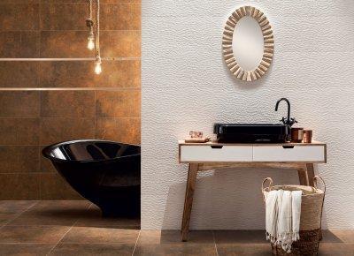 Fehér és rozsdaszínű csempe - fürdő / WC ötlet, modern stílusban