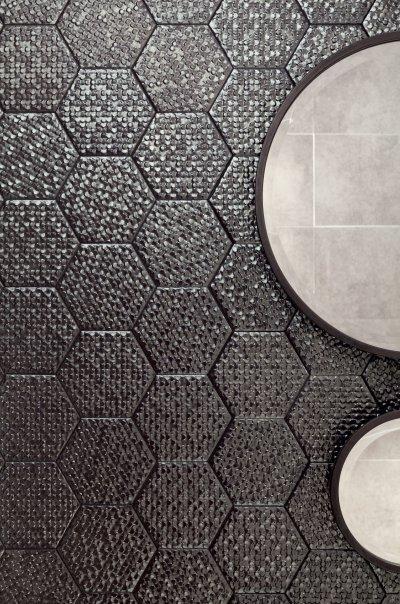Méhsejt alakú csempe - fürdő / WC ötlet, modern stílusban
