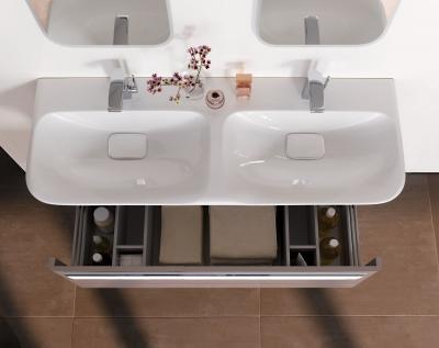 Látványos, dupla mosdókagyló mosdószekrénnyel - fürdő / WC ötlet, modern stílusban
