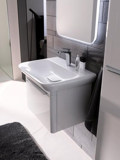 Mosdókagyló és szekrény organikus formákkal - fürdő / WC ötlet, modern stílusban