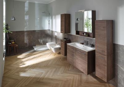 Organikus fürdőszoba bútorok és mosdókagyló - fürdő / WC ötlet, modern stílusban