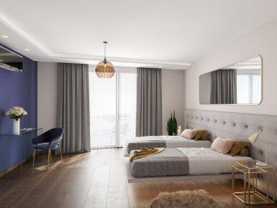Eklektikus hálószoba - háló ötlet, modern stílusban