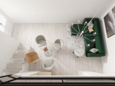 Mini apartman - nappali ötlet, modern stílusban