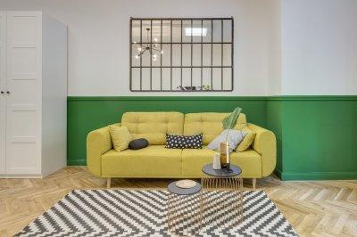 Zöld sárga nappali - nappali ötlet, modern stílusban