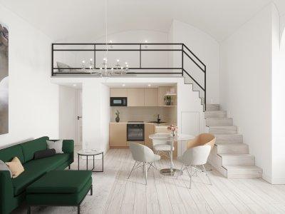 Garzon lakás galériával - nappali ötlet, modern stílusban