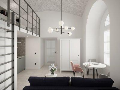 Boltíves garzon lakás - konyha / étkező ötlet, modern stílusban