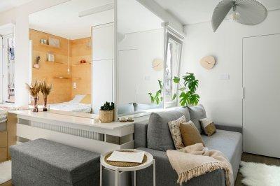 Ötletesen berendezett kis lakás - nappali ötlet, modern stílusban