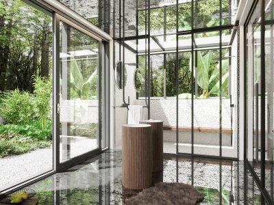 Üvegfalú fürdőszoba - fürdő / WC ötlet, modern stílusban