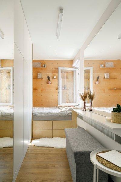 Hálószoba a garzonban - háló ötlet, modern stílusban