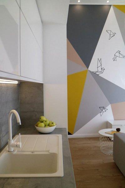 Konyha színes falakkal - konyha / étkező ötlet, modern stílusban