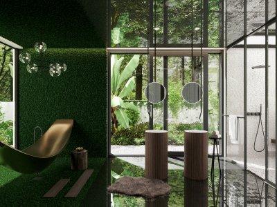 Fürdőszoba növényfallal - fürdő / WC ötlet, modern stílusban