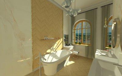 Eklektikus otthon fürdője a budai várnegyedben - fürdő / WC ötlet