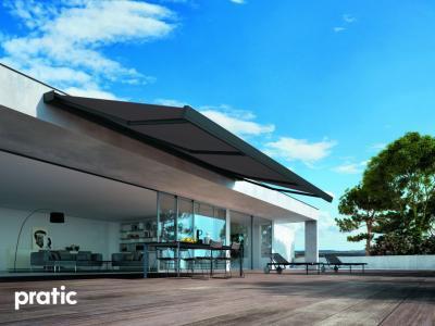 Nagyméretű napellenző - erkély / terasz ötlet, modern stílusban