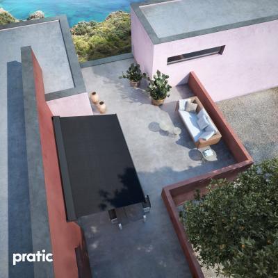 Napellenző sötét színben - erkély / terasz ötlet, modern stílusban