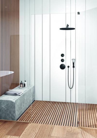 Fekete zuhany és csap - fürdő / WC ötlet, modern stílusban