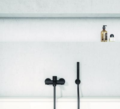Fekete kád csaptelep és kézizuhany - fürdő / WC ötlet