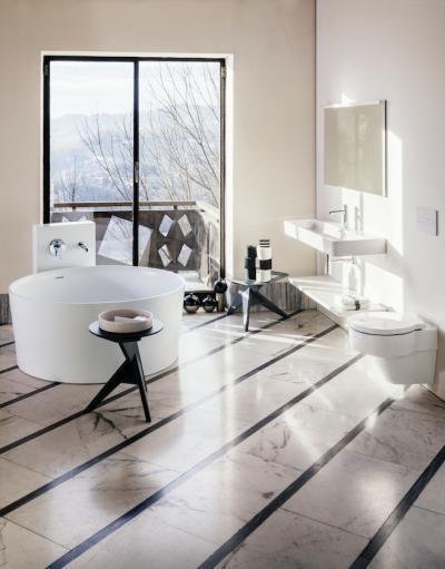 Kerek kád modern szaniterekkel - fürdő / WC ötlet, modern stílusban