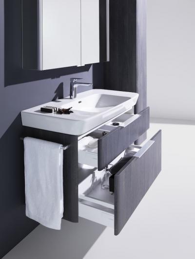 Tágas mosdó szekrénnyel - fürdő / WC ötlet, modern stílusban