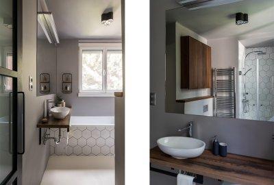 KONYHÁBÓL ÁTALAKÍTOTT FÜRDŐSZOBA - fürdő / WC ötlet, modern stílusban