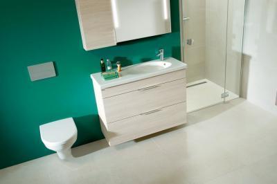 Zöld fal a fürdőben - fürdő / WC ötlet, modern stílusban