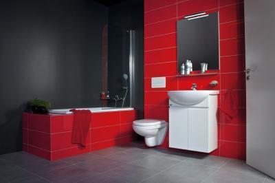 Piros fürdőszoba - fürdő / WC ötlet, modern stílusban