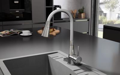 Ívelt mosogató csaptelep - konyha / étkező ötlet, modern stílusban
