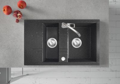 Másfél medencés mosogató - konyha / étkező ötlet, modern stílusban