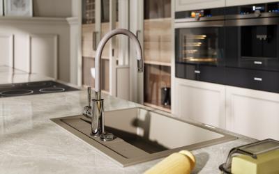 Fehér csaptelep és mosogató - konyha / étkező ötlet, modern stílusban