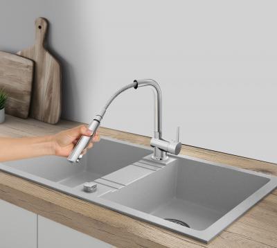 Kihúzható konyha csaptelep - konyha / étkező ötlet, modern stílusban