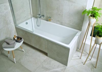 Kád paravánnal kiegészítve - fürdő / WC ötlet, modern stílusban