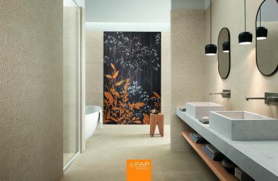Poszter hatású csempe - fürdő / WC ötlet, modern stílusban