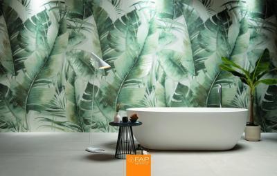 Levélmintás csempe - fürdő / WC ötlet, modern stílusban