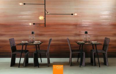 Nagyméretű falicsempe - konyha / étkező ötlet, modern stílusban
