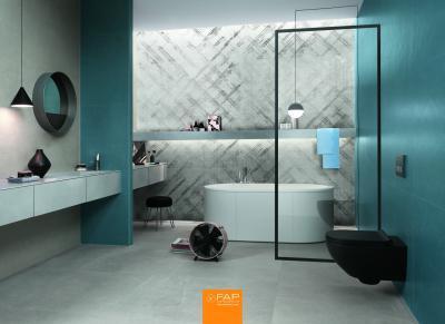 Nagyméretű burkolólapok - fürdő / WC ötlet, modern stílusban