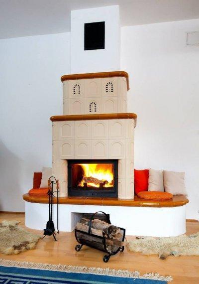 Cserépkandalló - nappali ötlet, rusztikus stílusban