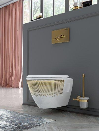 Fali wc arany dekorral - fürdő / WC ötlet