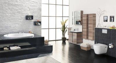 Modern fürdő süllyesztett káddal - fürdő / WC ötlet, modern stílusban