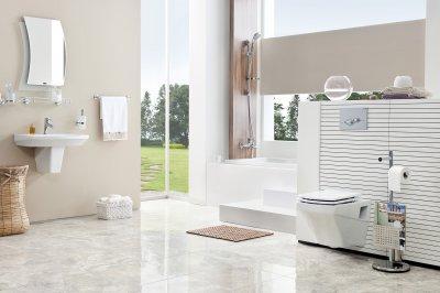 Rózsaszín fürdő - fürdő / WC ötlet, modern stílusban