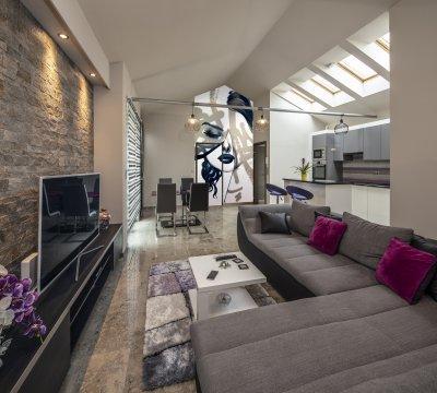 Jura mészkő, szürke - nappali ötlet, modern stílusban