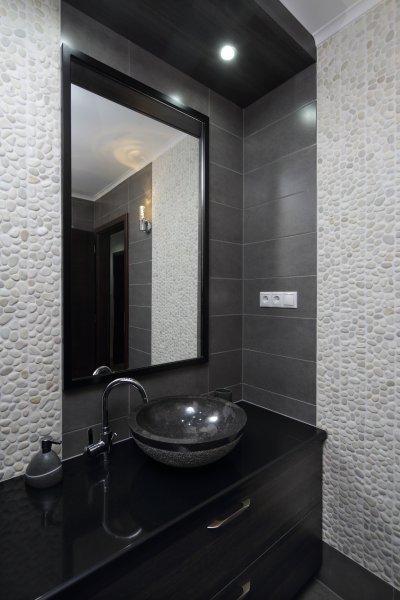 Pebble White Timor kavicsmozaik - fürdő / WC ötlet, modern stílusban