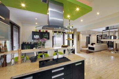 Mészkő burkolat a padlón - konyha / étkező ötlet, modern stílusban