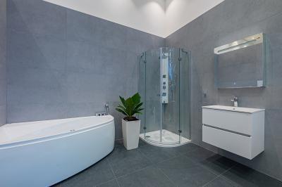 Modern fürdőszoba kialakítás - fürdő / WC ötlet, modern stílusban