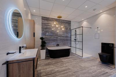 Fürdőszoba koncepció térkáddal - fürdő / WC ötlet, modern stílusban