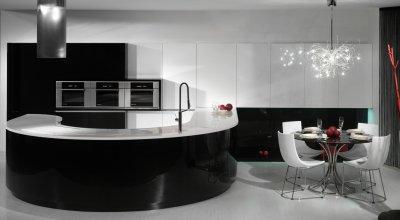 Magasfényű, fekete-fehér konyhabútor - konyha / étkező ötlet, modern stílusban