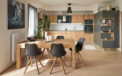 Arany tölgy antracittal kombinálva - konyha / étkező ötlet, modern stílusban