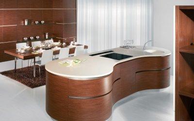 Exkluzív formájú konyhasziget - konyha / étkező ötlet, modern stílusban